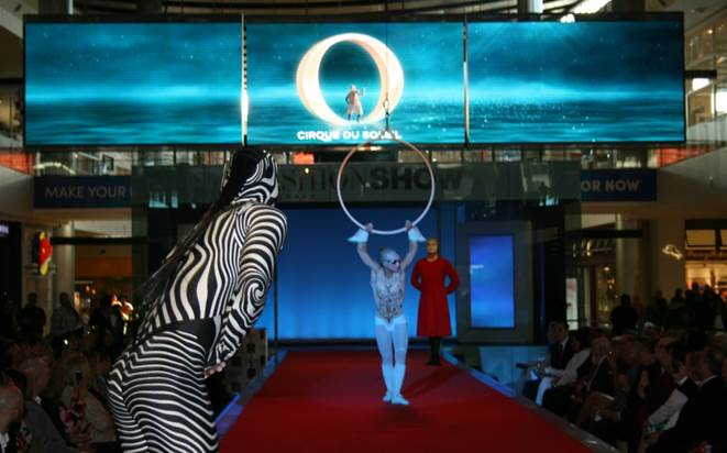 Performers from Cirque du Soleil performing on a runway stage
