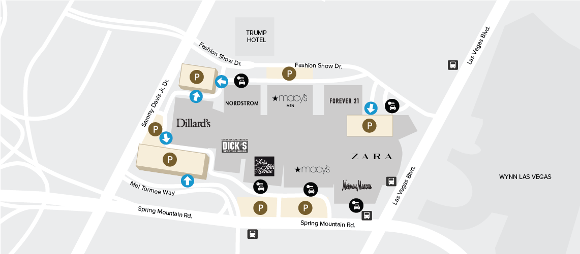 Fashion Show Mall Map Parking Map and Information| Fashion Show